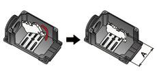 端子台取付方法【DINレール式端子台】 端子台取付板に取付ける。取付可能寸法 A=Max.53mm ※一部、端子台の形状により取り付かない場合があります。