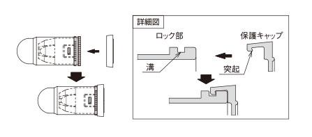 保護キャップをOA-QCMに取り付けてから電線を差し込む。